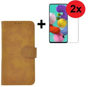 Samsung Galaxy A71 / A71s Hoes Wallet Book Case Cover Pearlycase Bruin + 2X Screenprotector Tempered Gehard Glas 2 stuks