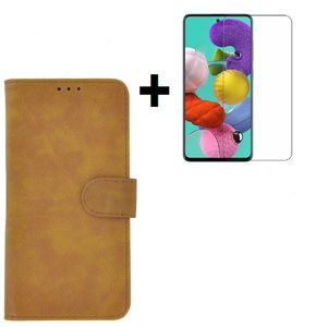 Samsung Galaxy A71 / A71s Hoes Wallet Book Case Cover Pearlycase Bruin + Screenprotector Tempered Gehard Glas
