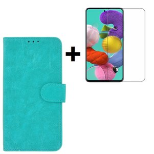 Samsung Galaxy A71 / A71s Hoes Wallet Book Case Cover Pearlycase Turquoise + Screenprotector Tempered Gehard Glas