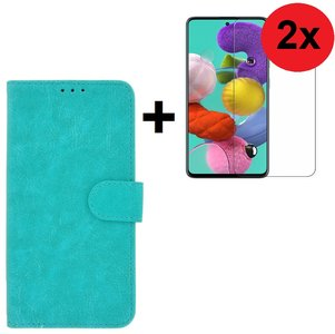 Samsung Galaxy A71 / A71s Hoes Wallet Book Case Cover Pearlycase Turquoise + 2X Screenprotector Tempered Gehard Glas 2 stuks