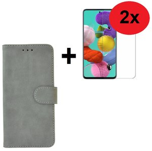 Samsung Galaxy A71 / A71s Hoes Wallet Book Case Cover Pearlycase Grijs + 2X Screenprotector Tempered Gehard Glas 2 stuks