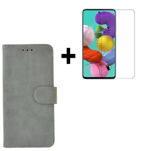 Samsung Galaxy A71 / A71s Hoes Wallet Book Case Cover Pearlycase Grijs + Screenprotector Tempered Gehard Glas