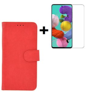 Samsung Galaxy A71 / A71s Hoes Wallet Book Case Cover Pearlycase Rood + Screenprotector Tempered Gehard Glas