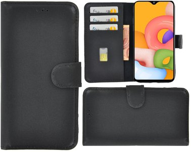Samsung Galaxy A01 hoes Echt Leer Wallet Bookcase hoesje cover Zwart Pearlycase