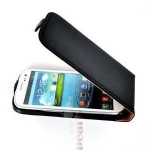 Pearlycase Zwart Lederlook Flip case hoesje cover Samsung i9300i Galaxy S3 Neo - Lederlook Flip case hoesje