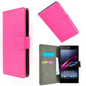 Sony xperia T3 book style wallet case roze