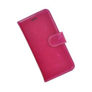 Pearlycase®-Samsung-Galaxy-S8-Plus-Hoesje-Handgemaakt-Echt-Leder-Wallet-Bookcase-Fuchsia-Effen