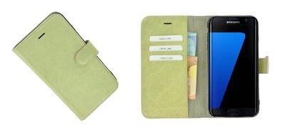 Pearlycase® Samsung Galaxy S7 Edge Hoesje Echt Leder Wallet Bookcase Groenbeige
