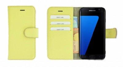Pearlycase® Samsung Galaxy S7 Edge Hoesje Echt Leder Wallet Bookcase Geel