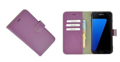 Pearlycase® Samsung Galaxy S7 Edge Hoesje Echt Leder Wallet Bookcase Paars