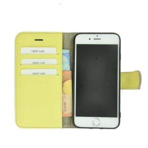 Geel Wallet Bookcase iPhone 8 Plus Echt Leer Pearlycase® Hoesje