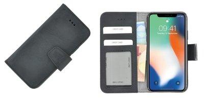 Pearlycase® Wallet Book Case iPhone X Echt Leer Zwart Hoesje met Pashouders