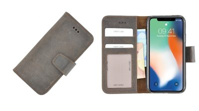 Pearlycase® Wallet Book Case iPhone X Echt Leer Bruin Hoesje met Pashouders