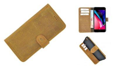 Pearlycase® iPhone 6/6S Plus Lichtbruin Wallet Book Case Echt Leer Hoesje met Pashouders