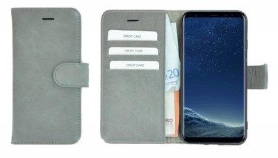 Pearlycase®-Samsung-Galaxy-S8-Hoesje-Echt-Leer-Wallet-Bookcase-Lichtgrijs
