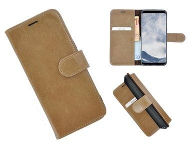 Pearlycase®-Samsung-Galaxy-S8-Hoesje-Echt-Leer-Wallet-Bookcase-Lichtbruin
