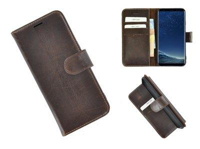 Pearlycase®-Samsung-Galaxy-S8-Hoesje-Echt-Leer-Wallet-Bookcase-Donkerbruin