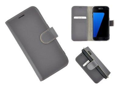 Pearlycase®-Samsung-Galaxy-S7-Hoesje-Echt-Leer-Wallet-Bookcase-Grijs