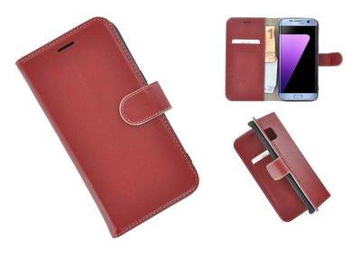 Pearlycase®-Samsung-Galaxy-S7-Edge-Hoesje-Echt-Leer-Wallet-Bookcase-Donkerrood
