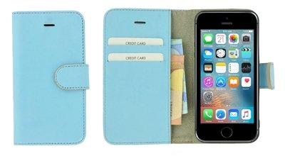 Pearlycase®-Echt-Lederen-Wallet-Bookcase-iPhone-5(S)/SE-Babyblauw-Hoesje