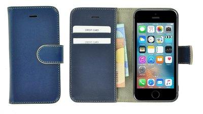 Pearlycase®-Echt-Lederen-Wallet-Bookcase-iPhone-5(S)/SE-Blauw-Hoesje