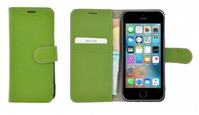 Pearlycase®-Echt-Lederen-Wallet-Bookcase-iPhone-5(S)/SE-Groen-Hoesje