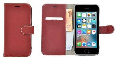 Pearlycase®-Echt-Lederen-Wallet-Bookcase-iPhone-5(S)/SE-Donkerrood-Hoesje