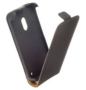 Nokia Lumia 620 - Lederlook Flip case hoesje - Zwart