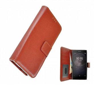 Wallet-Bookcase-Hoesje-voor-Sony-Xperia-L2-Fashion-Bruin