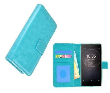 Wallet-Bookcase-Hoesje-voor-Sony-Xperia-L2-Fashion-Turquoise