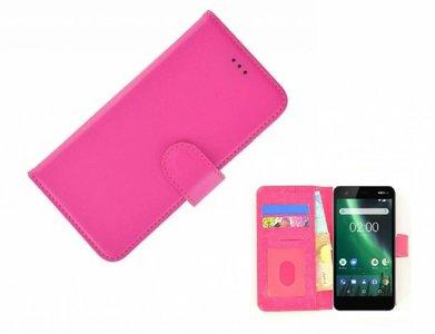 Wallet-Bookcase-Hoesje-voor-Nokia-2-Fashion-Roze