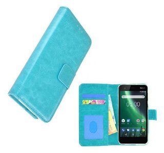 Wallet-Bookcase-Hoesje-voor-Nokia-2-Fashion-Turquoise