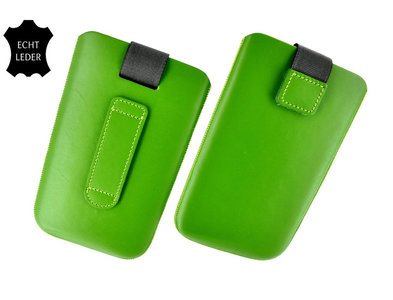 Samsung S7582 Galaxy S Duos 2 - Echt Leder insteek hoesje  - Groen