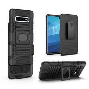 Pearlycase Multifunctionele hoesje Robuuste Holster case zwart met magneet adsorptie voor Samsung Galaxy S10 inclusief Magnetische Car Mount