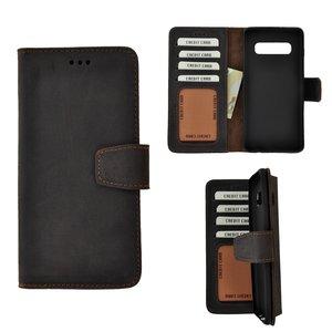 Pearlycase Echt Leder Antiek Donker Bruin Bookcase Hoesje voor Samsung Galaxy S10 Plus