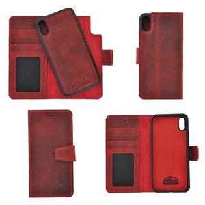 Pearlycase Antiek Bordeaux Rood Echt lederen 2in1 back en book case ID type hoesje met magnetisch uitneembaar leren behuizing en sluiting voor iPhone XS Max