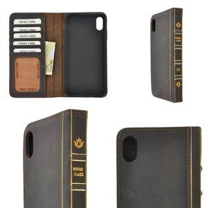 Pearlycase Echt Leer Book Bookcase Apple iPhone XS Max- Antiek Donker Bruin Hoesje