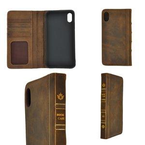Pearlycase Echt Leer Book Bookcase Apple iPhone XS Max- Antiek Bruin Hoesje