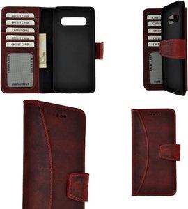 Pearlycase Echt Leer Moon Bookcase Samsung Galaxy S10 Plus - Antiek Bordeaux Rood Hoesje