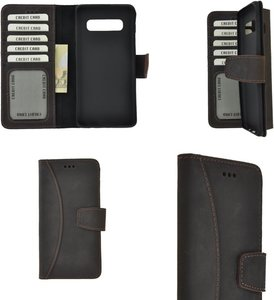 Pearlycase Echt Leer Moon Bookcase Samsung Galaxy S10 Plus - Antiek Donker Bruin Hoesje