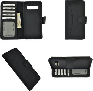 Pearlycase Echt Leer Moon Bookcase Samsung Galaxy S10 Plus - Antiek Zwart Hoesje