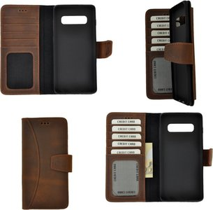 Pearlycase Echt Leer Moon Bookcase Samsung Galaxy S10 Plus - Antiek Bruin Hoesje