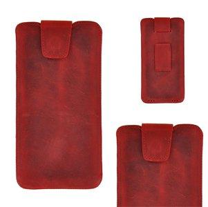 Pearlycase Echt Leder Pouch Pocket Insteekhoesje met riemgleuf Antiek Bordeaux Rood voor Apple iPhone XS Max