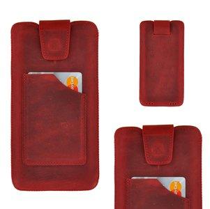 Pearlycase Echt Leder Pouch Pocket Insteekhoesje Antiek Bordeaux Rood Apple iPhone XS Max