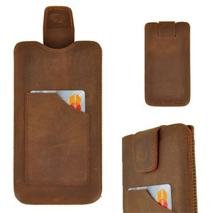 Pearlycase Echt Leder Pouch Pocket Insteekhoesje Antiek Bruin Apple iPhone 6 Plus / 7 Plus / 8 Plus