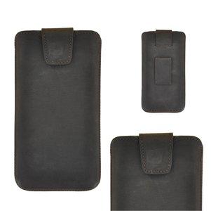 Pearlycase Echt Leder Pouch Pocket Insteekhoesje Antiek Donker Bruin Apple iPhone XR