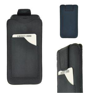Pearlycase Echt Leder Pouch Pocket Insteekhoesje Antiek Zwart Apple iPhone X / iphone XS