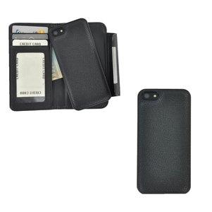 Pearlycase 2in1 back en book case pu-leder hoesje Zwart met magnetisch uitneembaar behuizing en sluiting voor Apple iPhone 5 / iPhone 5S