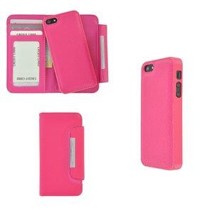 Pearlycase 2in1 back en book case pu-leder hoesje Roze met magnetisch uitneembaar behuizing en sluiting voor Apple iPhone 5 / iPhone 5S