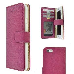 Pearlycase Echt leder Wallet Bookcase Hoesje Geribbeld Donker Roze voor Apple iPhone 6 / iPhone 6S